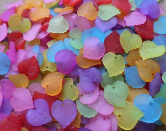 Frosted leaf beads, Acrylic leaf beads, Frosted acrylic, Leaf beads, Beads, Jewellery making, Acrylic beads, Craft beads, Leaf, Multicolour