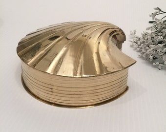 Solid Brass Gold Shell Storage Box