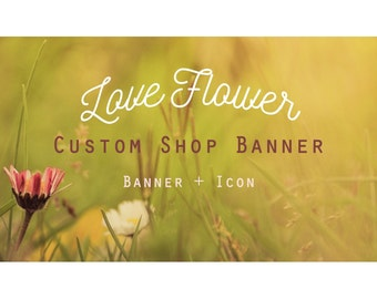 "Etsy Banner Set - Cover & Icon Shop ""Love Flower"""