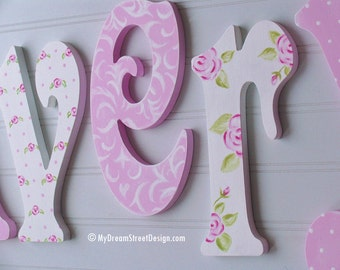 Painted Wall Letters, Wooden Letters, Baby Girl Nursery, Custom Wall Letters, Nursery Letters, Teen Letters, Floral Design, Pink and White