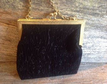 Vintage-Style Black Velour  Evening Bag wedding/party/prom/bridal/special occasion