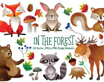 Watercolor Woodland Clipart - Watercolor Clipart, Woodland Clipart, Forest Animals, Cute Woodland Animals, Nursery Print, Digital Art
