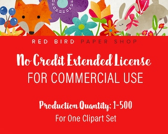 Extended License for Commercial Use of Any Clipart Set - Production Quantity of 1-500, Commercial Use of Digital Graphics and Clip Art Sets