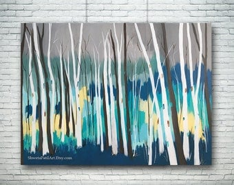"""30""""X40"""" original painting abstract contemporary acrylic canvas teal turquoise birch aspen wall art home office interior decor Shweta Patil"""