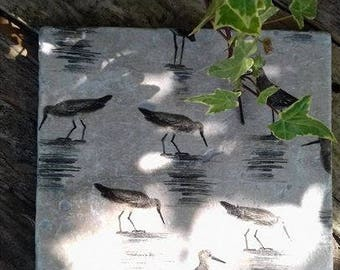 Grey marsh bird - Natural stone coasters and pot stands