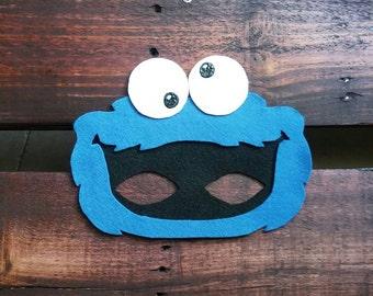 Sesame Street Cookie Monster Kids Felt Mask blue monster dress up costume birthday party favor