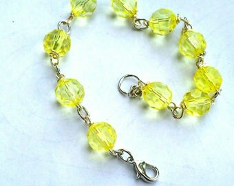 Yellow Beaded Chain Link Bracelet