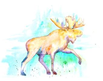 1+1=3! Print Watercolor moose painting,watercolor moose painting, moose, moose watercolor painting print, animal watercolor, animal painting