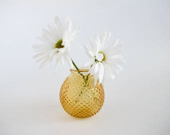 Vintage Hobnail Vase 1960s Decor Mustard Yellow Bud Vase