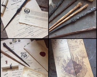 Wizard Acceptance Complete Kit -Letter, Wand, House Letter, Mini Map