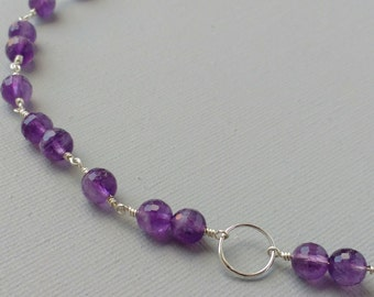 Sterling Silver And Purple Violet Amethyst Gemstone Karma Lunar Circle Necklace Hand Crafted Chain Gift for Mum February Birthstone