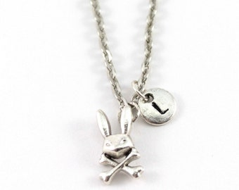 BUNNY SKULL necklace, bunny skull jewel, personalized charm necklace, initial necklace,  personalized jewel, charm neckalce, initial jewelry