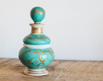 Hand painted turquoise and gold perfume bottle