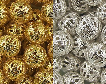 RJ Beads - Package of 100 - 8mm Round Silver or Gold Filigree Lightweight Jewelry Making Beads - Free Shipping!!