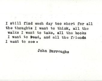 John Burroughs Hand typed vintage typewriter quote