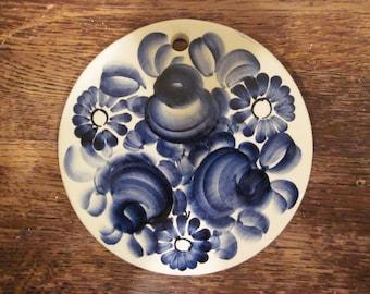 Pottery Made in Poland Wloclawek Fajans Trivet Tile Blue Floral