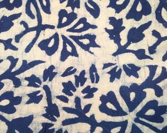Indigo Floral Fabric Etsy