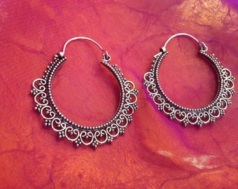 Silver heart lace earrings