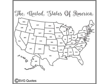 The U S Map  SVG EPS DXF Cutting File For Cricut Explore & More. Instant Download. Personal and Commercial Use. Vinyl Printable