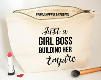 Personalised Just A Girl Boss Building Her Empire - Be Younique Personalised Cosmetic Bag - Canvas Pouch - Younique Swag Make up Bag Clutch