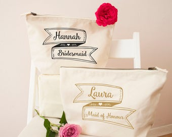 Personalised Pretty Ribbon Bridesmaid Make Up Bag - Cosmetic Bag - Natural Pouch - Bridal Gifts - Wedding Day Gifts - Gifts for the Bride