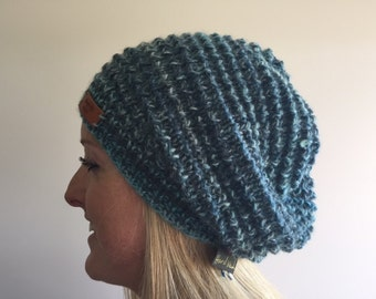 Hand knitted wool and alpaca slouchy in aqua shades