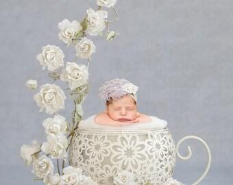 Newborn digital background - Vintage white rose teacup Instant download - Adelaide