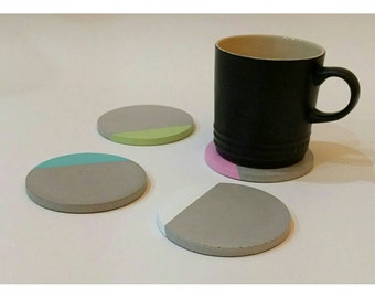 Concrete Coasters - set of 4 in a choice of colours