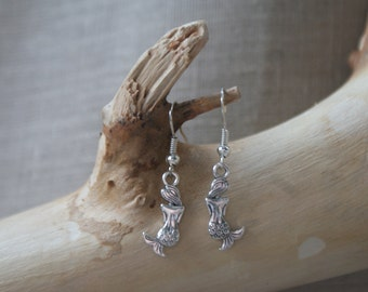 Mermaid - Silver-Plated Fish-Hook Earrings