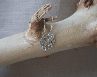 Seahorse - Silver-Plated Fish-Hook Earrings