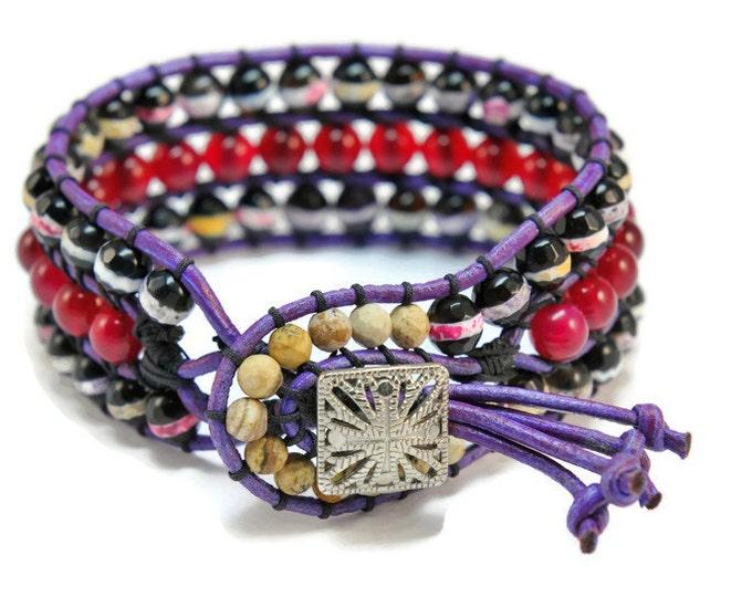 Fantasy *  3 strand Wrap Bracelet. Boho Style. Bohemian Jewelry. Semiprecious stones. Gift for her. Cuff Bracelet.