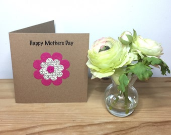 Handmade Mothers Day card, Mothering Sunday, Mulberry paper flower