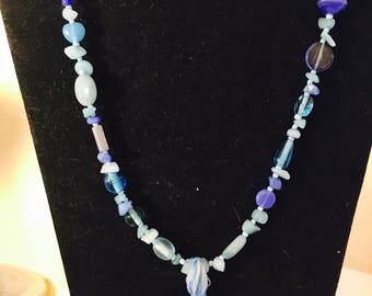 Blue Stone Tassel Necklace