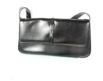 Black Handbag, Jane Shilton Handbag, 1970s Handbag, Retro Look, Made in England, Mid Century Fashion