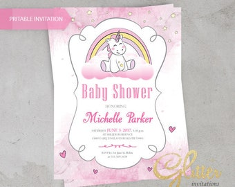 Unicorn Baby Shower invitation,digital printable pdf,Girl baby shower invitation,rainbow,pink
