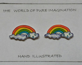 Rainbow earings.Hand ilustrated earings. sterling silver 925.stud earings.hand made.plastic .hand drawn.fair trade
