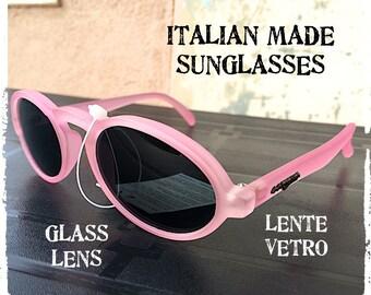Occhiali da sole uomo donna tondo ovale rosa opaco lente vetro Sunglasses oval round matt pink ice glass lens, vintage hipster Made in Italy