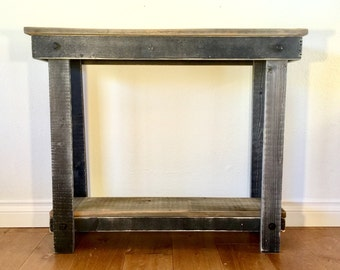 Rustic Handcrafted Reclaimed Console Table - Self Assembly - Black
