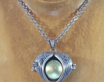 Angelic Music No. 1 - Silver Winged Locket Pendant with Gold Bell Ball