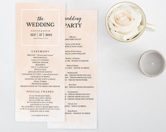 Wedding Program Template, Printable Wedding Program, Ceremony Printable Template, Instant Download, Editable PDF, Blush Watercolor #SPP043pr