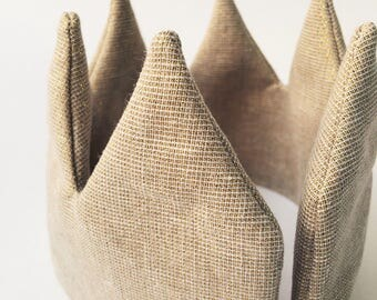 Sand linen Crown-kids Crown-it instead-birthday-verjaardagskroon-Crown in linen-Crown toys-children's Party