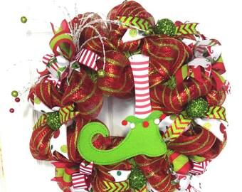 Elf Christmas wreath Red and Lime Christmas decor elf decor Christmas elf mesh wreath