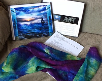 Prophetic Art - Silk Scarf - Christian Gifts - Dyed4you Art 8x10 Gift Set with Medium Silk (art - Double Rest | silk - Ascend)