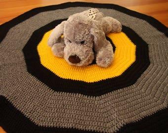 Grey, Black and Yellow Crochet Pet Blanket - Cat Blanket - Dog Blanket - Pet Blanket - Circle Blanket - Lap Blanket