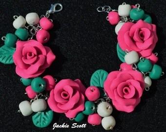 Pink Rose, Rose Bracelet, Rose, Bracelet, Polymer Clay Bracelet, Handmade Bracelet