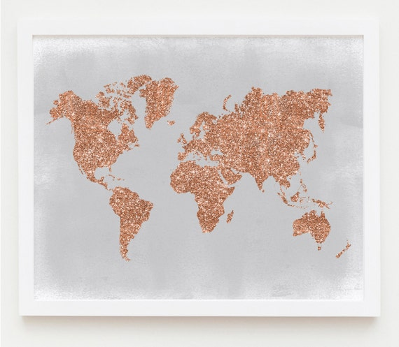 Copper Wall Art Rose Gold World Map Poster Grey and Copper