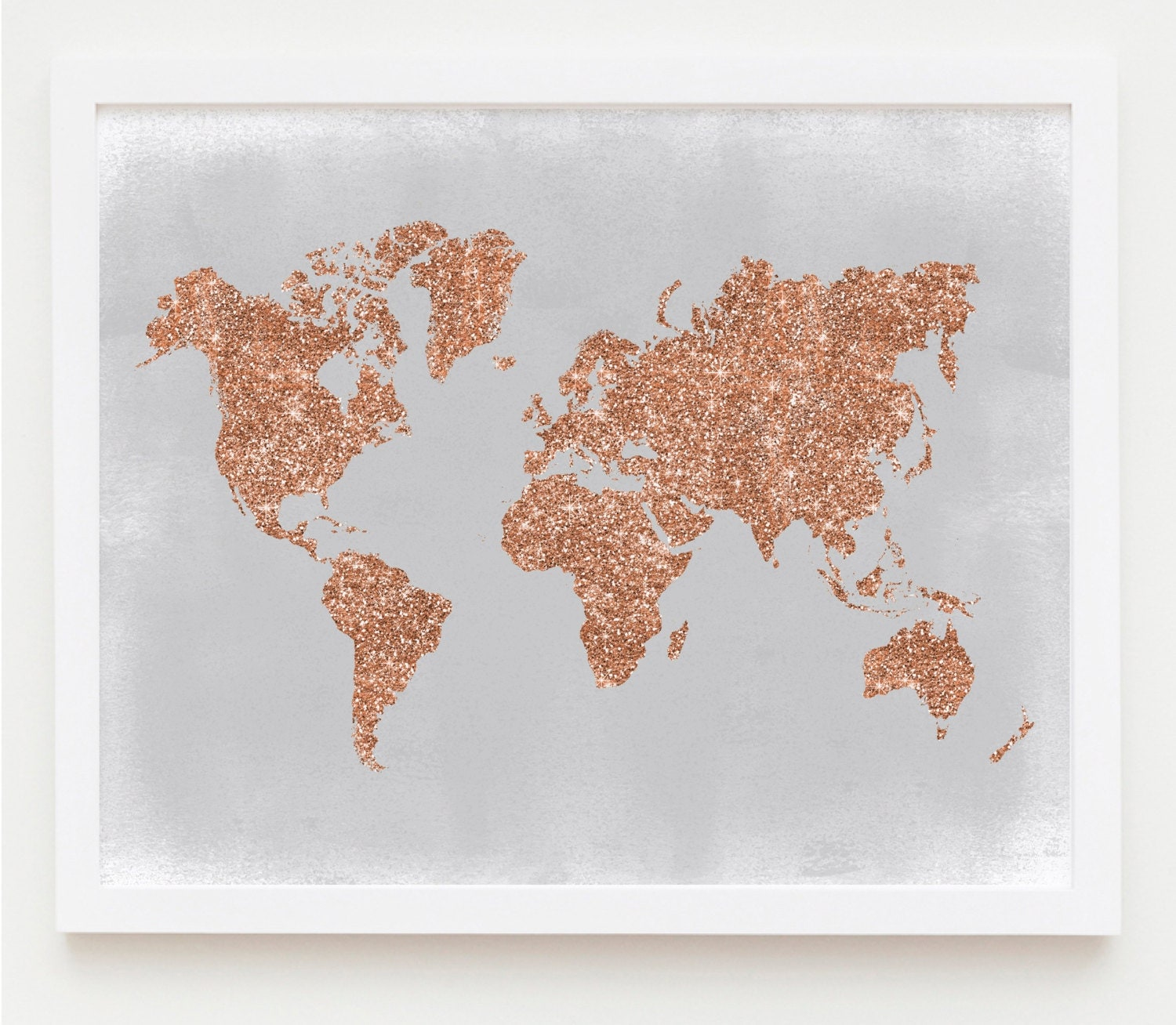 Copper Wall Art, Rose Gold World Map Poster Grey And Copper Home Decor Rose  Gold