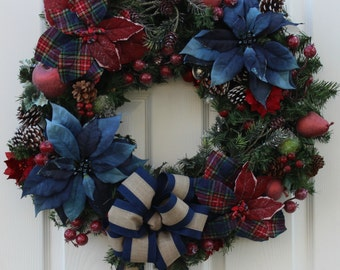 Red/Navy Plaid Wreath, Lighted Rustic Wreath, 24 Inch Wreath