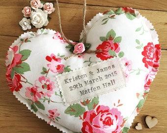 Handmade Personalised Large Cath Kidston Rosali Wedding Hanging Heart