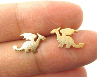 Dragon - gold plated earrings, plate - Silver earrings Chic, S079-40% discount